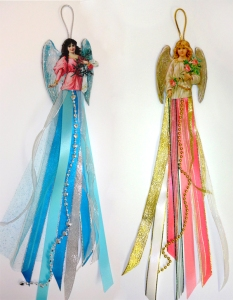 Christams Card Ribbon Angels